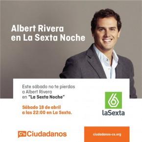 Este sábado, Albert Rivera responderá las preguntas de los ciudadanos en la nueva sección de La Sexta Noche.