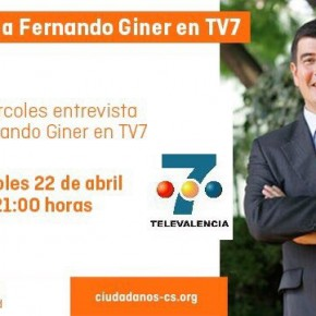 Esta noche, a las 21h, no te pierdas la entrevista a Fernando Giner, en Canal 7 TeleValencia