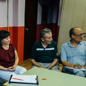 María José Garcia Diputada C's de Les Corts y Juan Carlos Mellado concejal C's Alaquàs en la reunión de la Plataforma por Transporte Publico