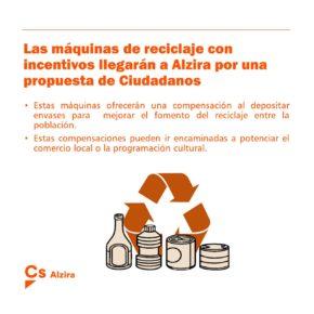 Ciudadanos consigue el apoyo para la implantación de máquinas de reciclaje de envases con incentivos en Alzira